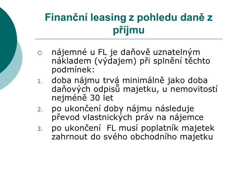 Finanční leasing z pohledu daně z příjmu