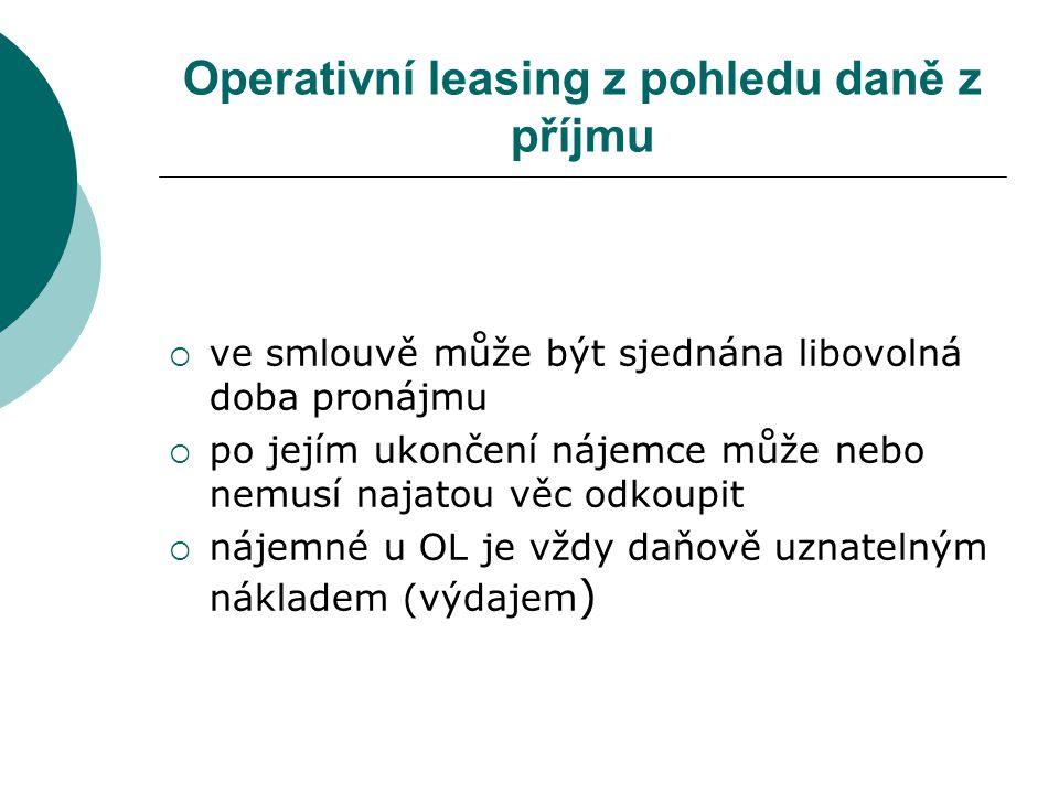 Operativní leasing z pohledu daně z příjmu