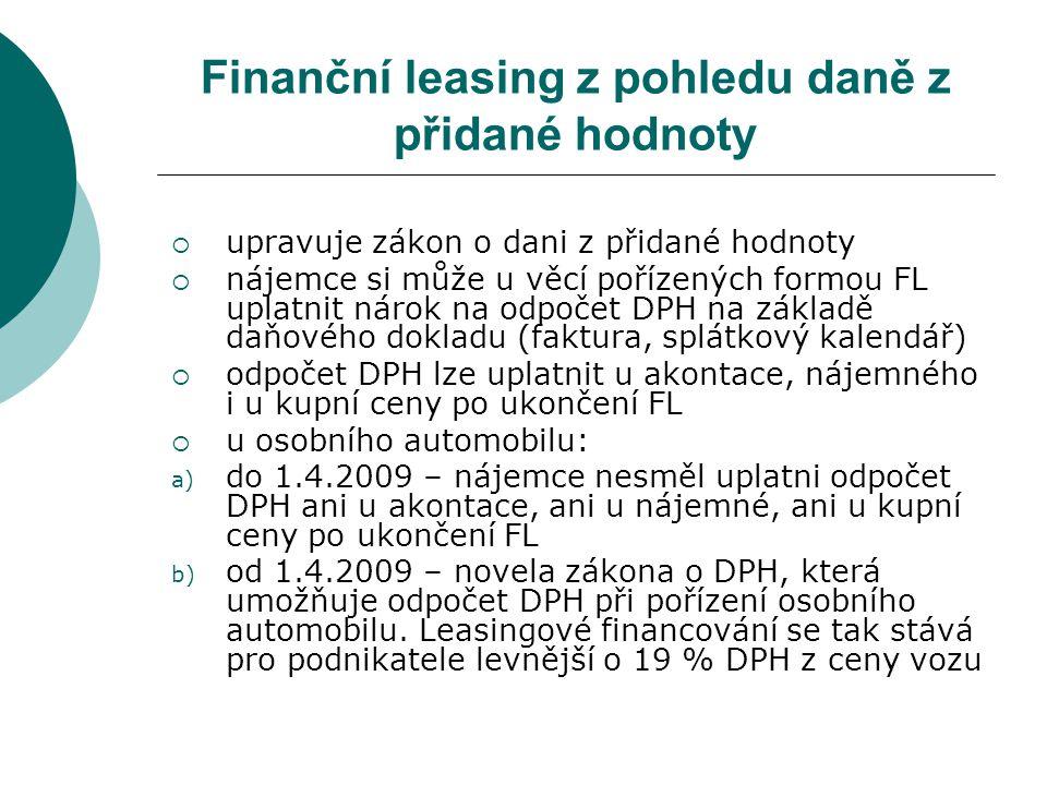 Finanční leasing z pohledu daně z přidané hodnoty