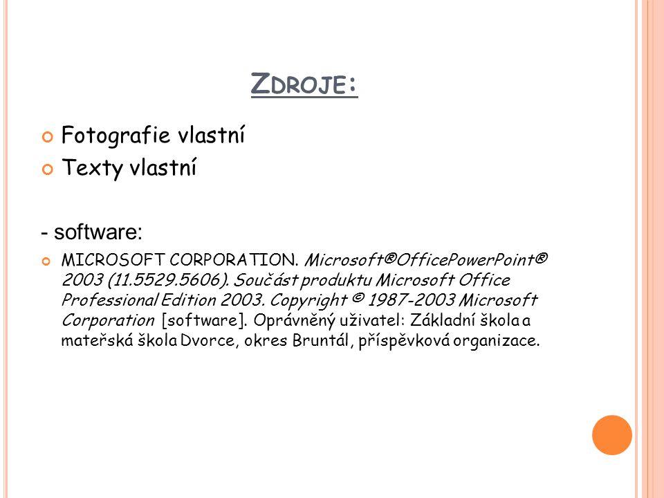 Zdroje: Fotografie vlastní Texty vlastní - software: