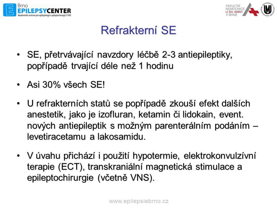 Refrakterní SE SE, přetrvávající navzdory léčbě 2-3 antiepileptiky, popřípadě trvající déle než 1 hodinu.