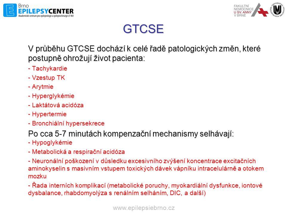 GTCSE V průběhu GTCSE dochází k celé řadě patologických změn, které postupně ohrožují život pacienta: