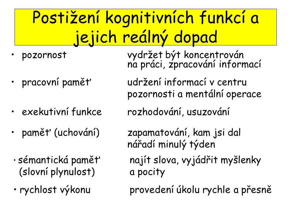 Postižení kognitivních funkcí a jejich reálný dopad