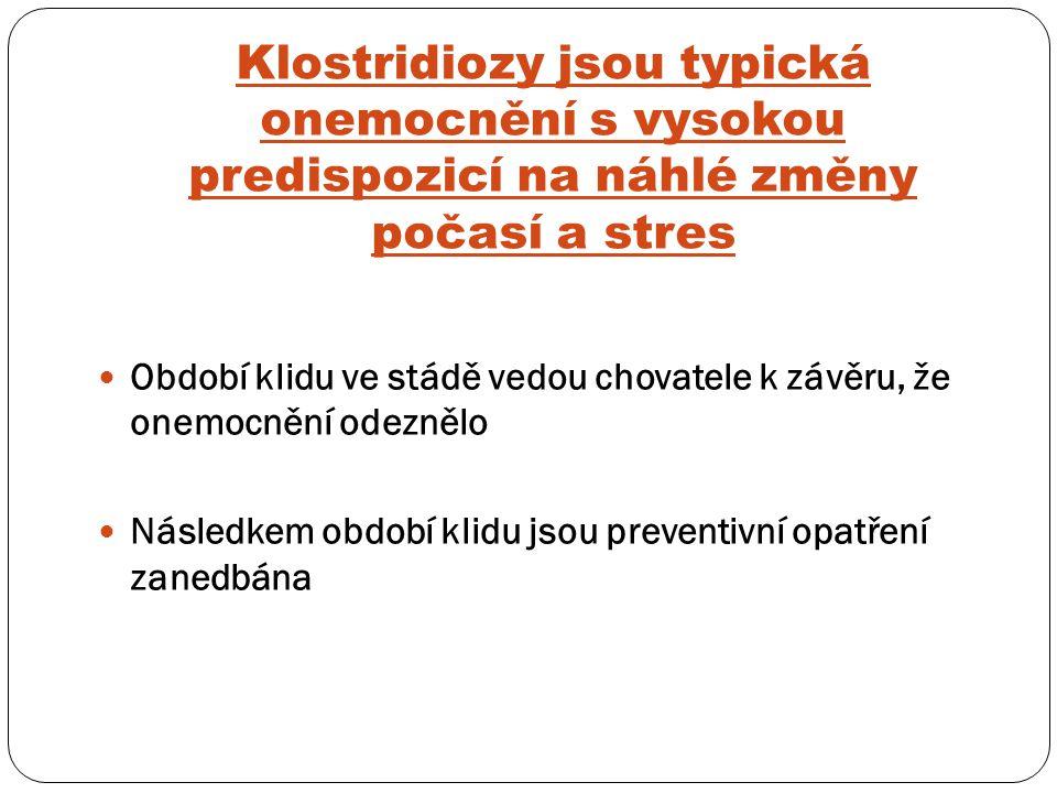 Klostridiozy jsou typická onemocnění s vysokou predispozicí na náhlé změny počasí a stres