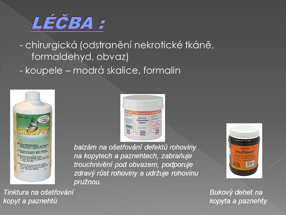 LÉČBA : - chirurgická (odstranění nekrotické tkáně, formaldehyd, obvaz) - koupele – modrá skalice, formalin