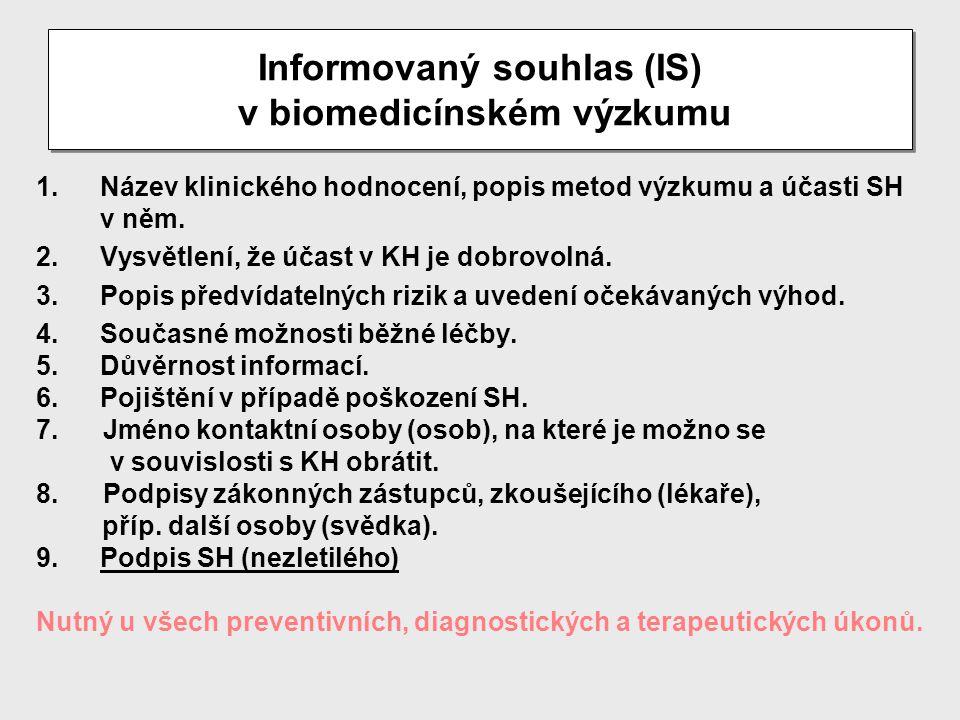 Informovaný souhlas (IS) v biomedicínském výzkumu