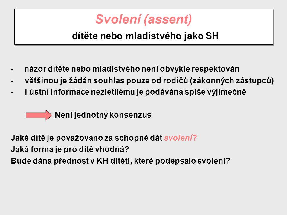 Svolení (assent) dítěte nebo mladistvého jako SH
