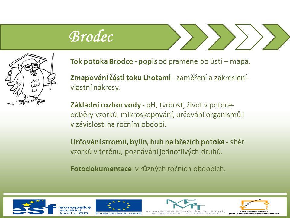 Brodec Tok potoka Brodce - popis od pramene po ústí – mapa.