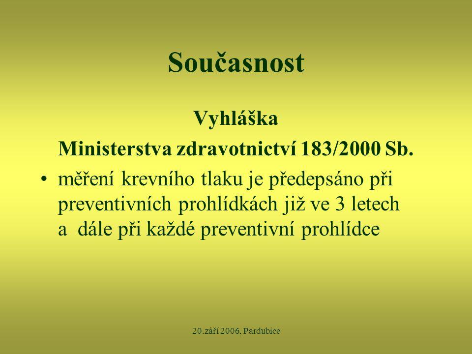 Ministerstva zdravotnictví 183/2000 Sb.