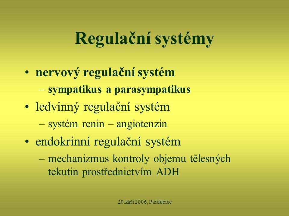 Regulační systémy nervový regulační systém ledvinný regulační systém
