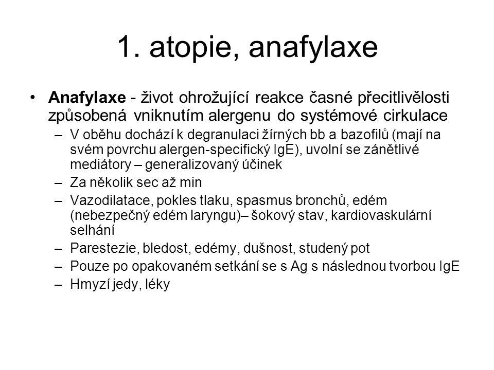 1. atopie, anafylaxe Anafylaxe - život ohrožující reakce časné přecitlivělosti způsobená vniknutím alergenu do systémové cirkulace.