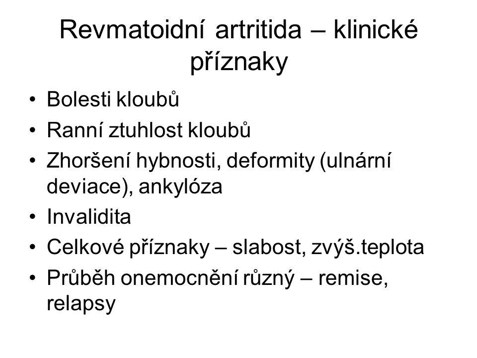 Revmatoidní artritida – klinické příznaky