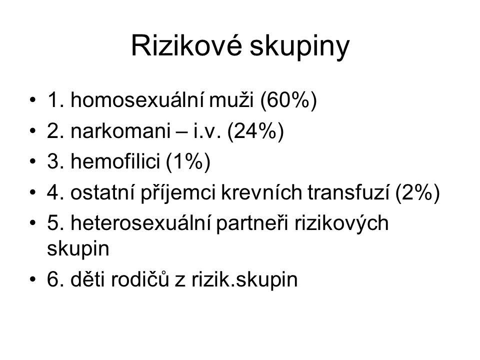 Rizikové skupiny 1. homosexuální muži (60%) 2. narkomani – i.v. (24%)