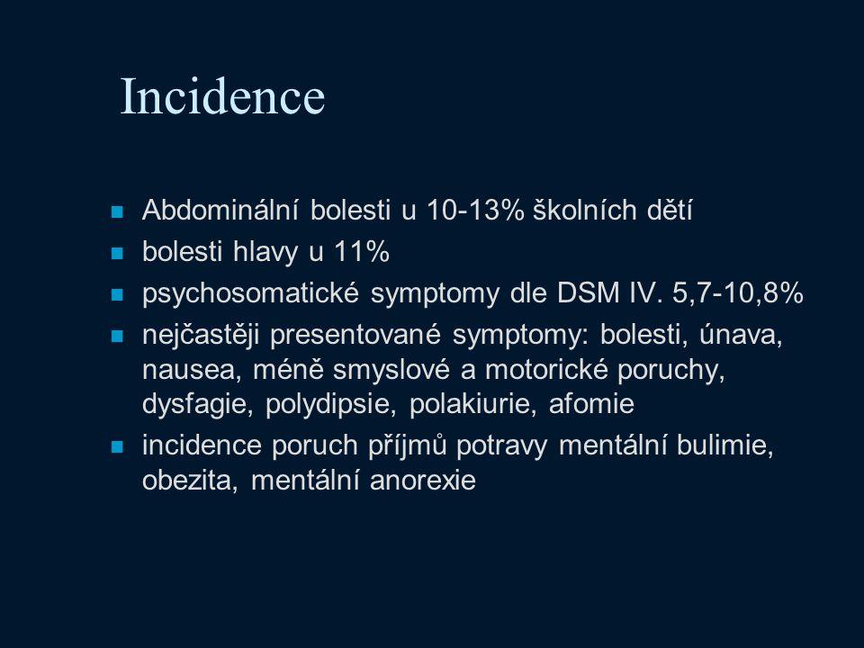 Incidence Abdominální bolesti u 10-13% školních dětí