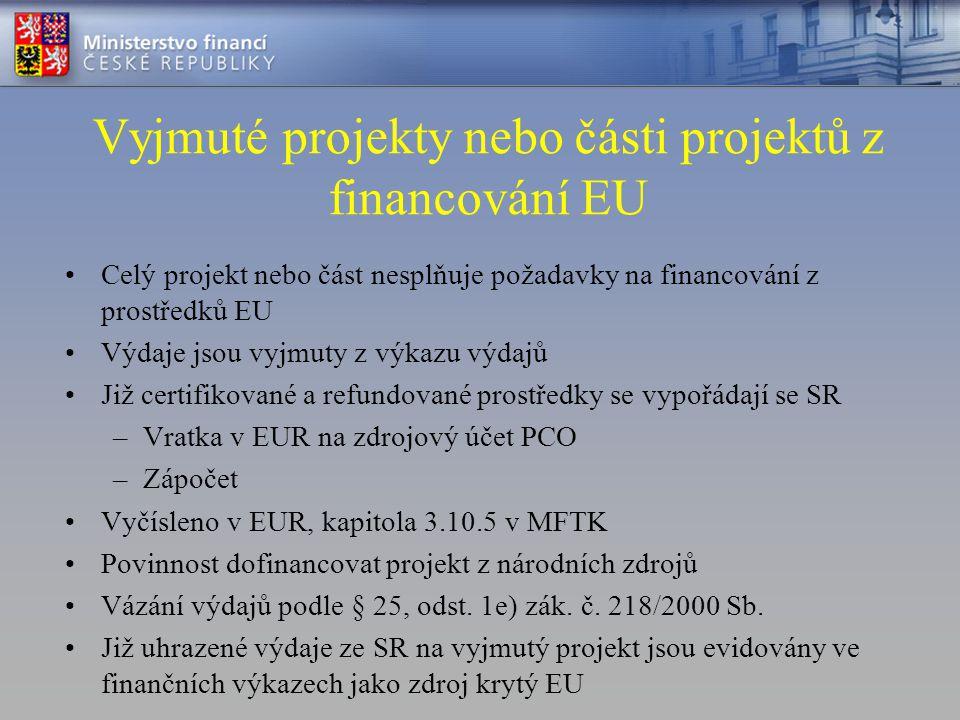 Vyjmuté projekty nebo části projektů z financování EU