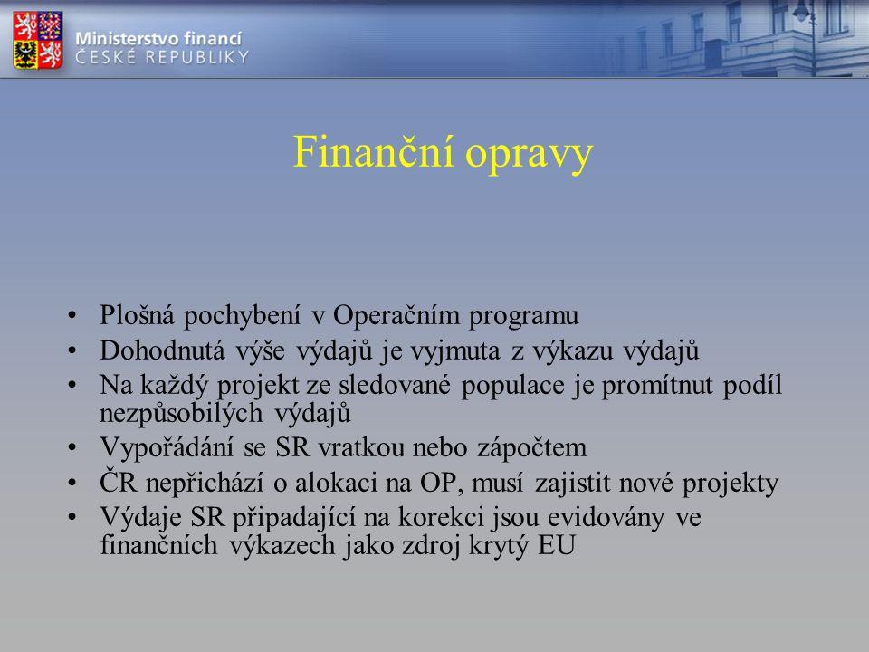 Finanční opravy Plošná pochybení v Operačním programu