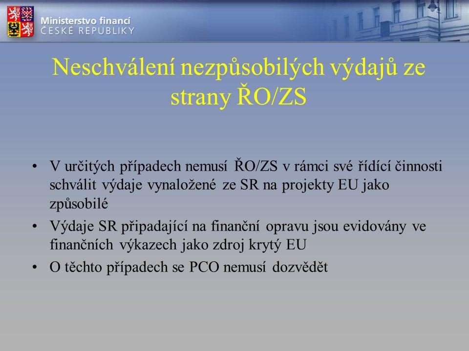 Neschválení nezpůsobilých výdajů ze strany ŘO/ZS