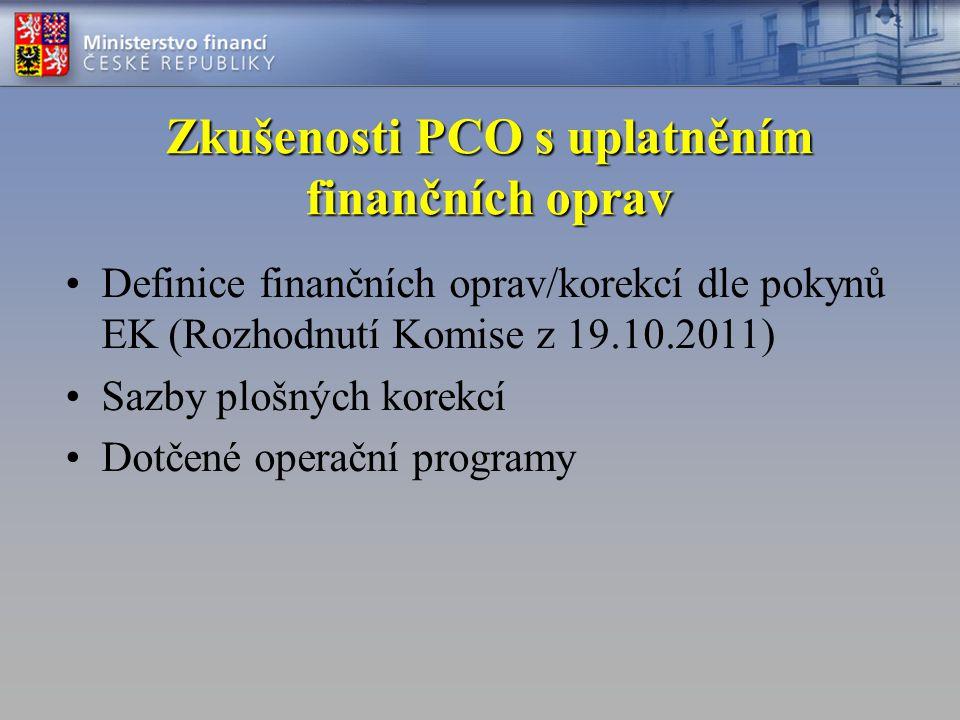 Zkušenosti PCO s uplatněním finančních oprav