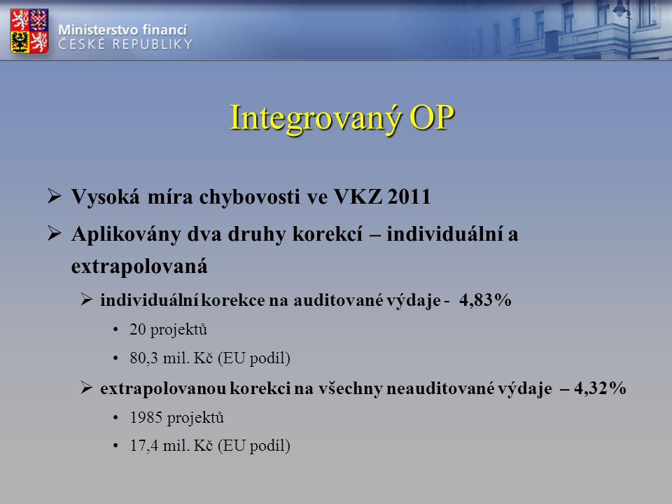 Integrovaný OP Vysoká míra chybovosti ve VKZ 2011