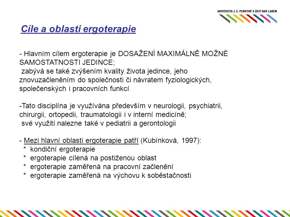 Cíle a oblasti ergoterapie