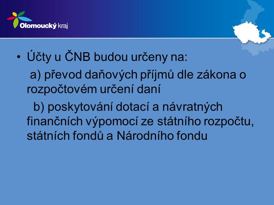 Účty u ČNB budou určeny na: