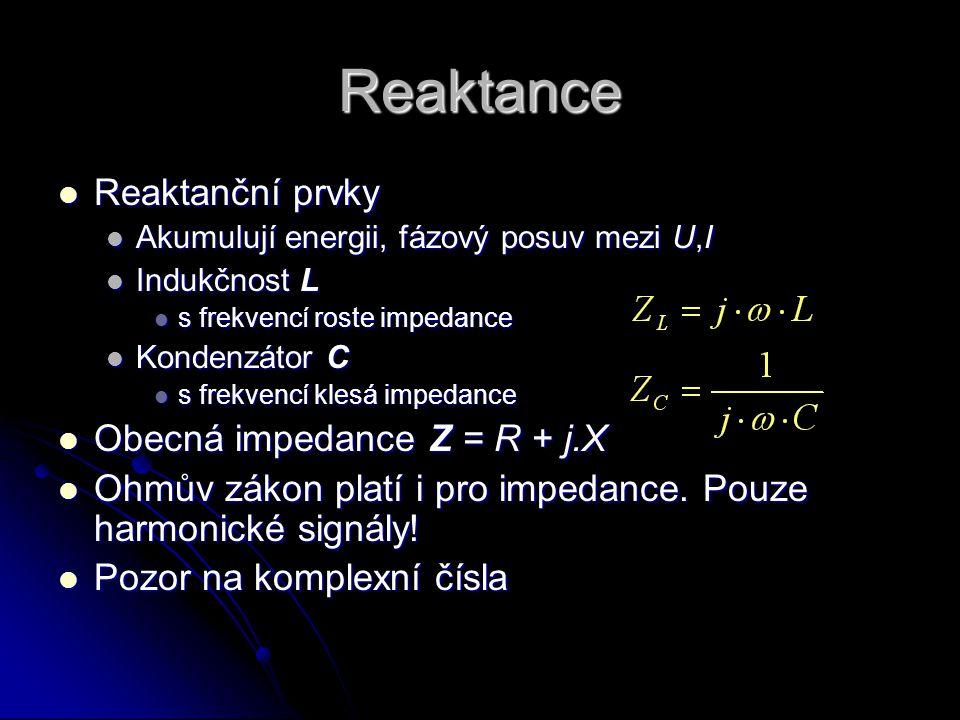Reaktance Reaktanční prvky Obecná impedance Z = R + j.X