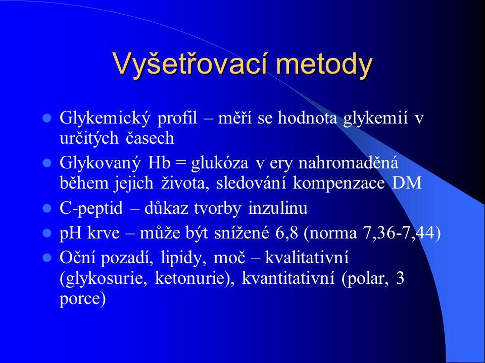 Vyšetřovací metody Glykemický profil – měří se hodnota glykemií v určitých časech.
