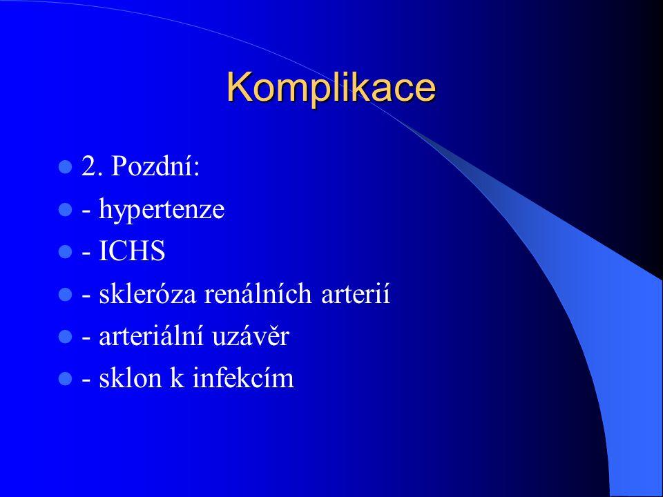 Komplikace 2. Pozdní: - hypertenze - ICHS - skleróza renálních arterií