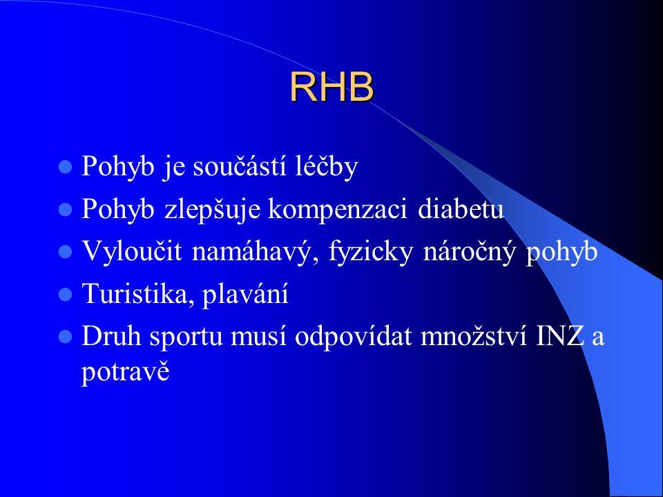 RHB Pohyb je součástí léčby Pohyb zlepšuje kompenzaci diabetu