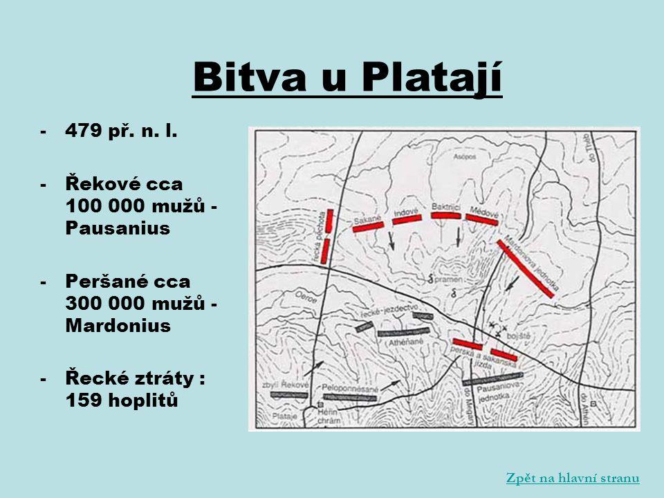 Bitva u Platají 479 př. n. l. Řekové cca 100 000 mužů - Pausanius