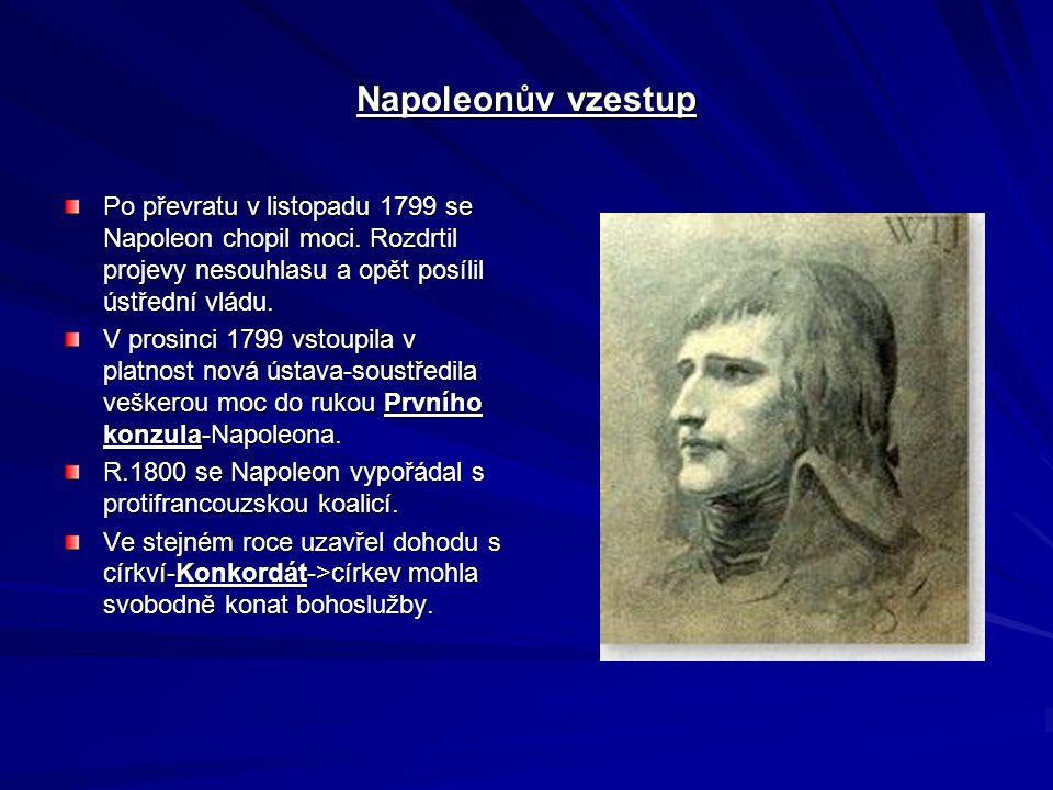 Napoleonův vzestup Po převratu v listopadu 1799 se Napoleon chopil moci. Rozdrtil projevy nesouhlasu a opět posílil ústřední vládu.