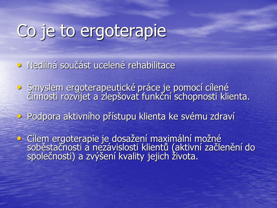 Co je to ergoterapie Nedílná součást ucelené rehabilitace