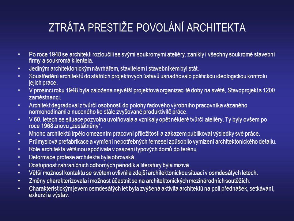 ZTRÁTA PRESTIŽE POVOLÁNÍ ARCHITEKTA