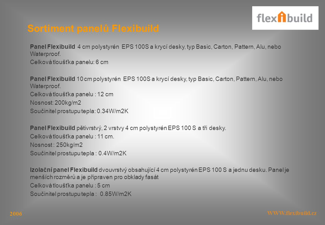 Sortiment panelů Flexibuild