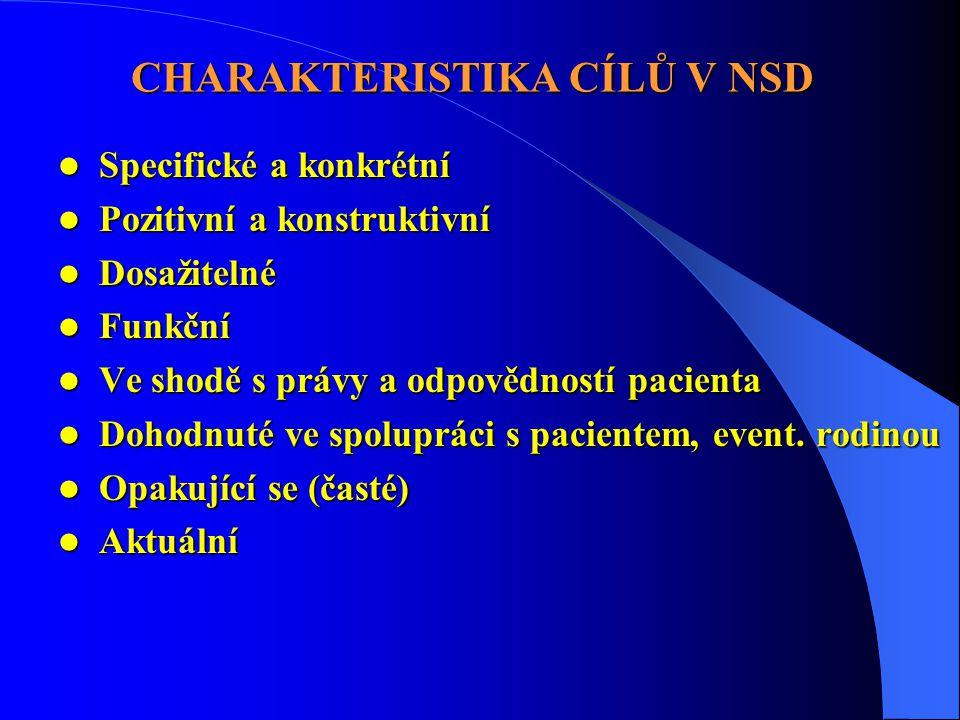 CHARAKTERISTIKA CÍLŮ V NSD