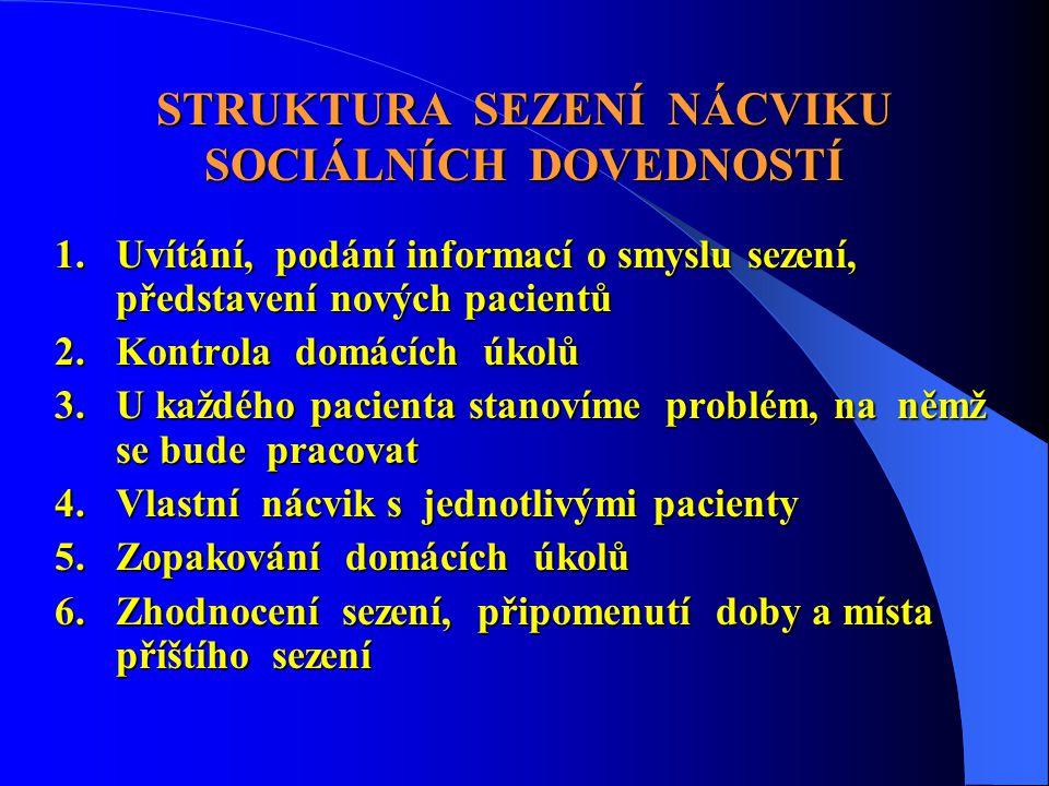 STRUKTURA SEZENÍ NÁCVIKU SOCIÁLNÍCH DOVEDNOSTÍ