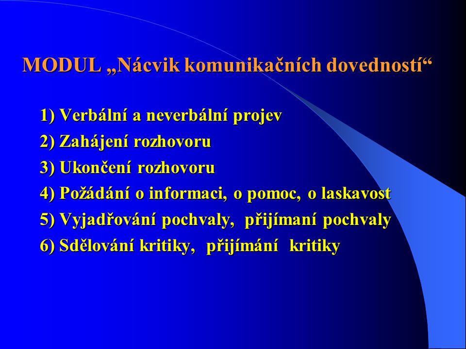 """MODUL """"Nácvik komunikačních dovedností"""