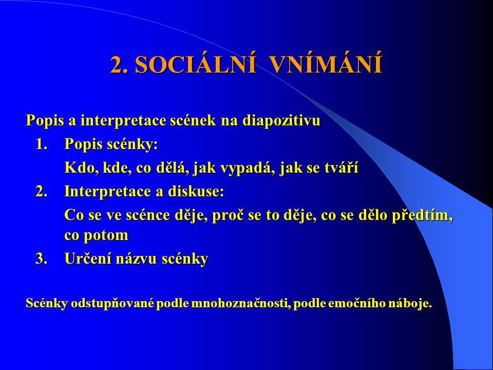 2. SOCIÁLNÍ VNÍMÁNÍ Popis a interpretace scének na diapozitivu