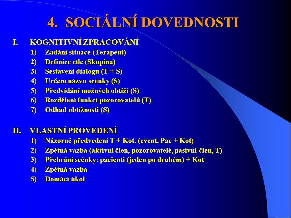 4. SOCIÁLNÍ DOVEDNOSTI KOGNITIVNÍ ZPRACOVÁNÍ VLASTNÍ PROVEDENÍ