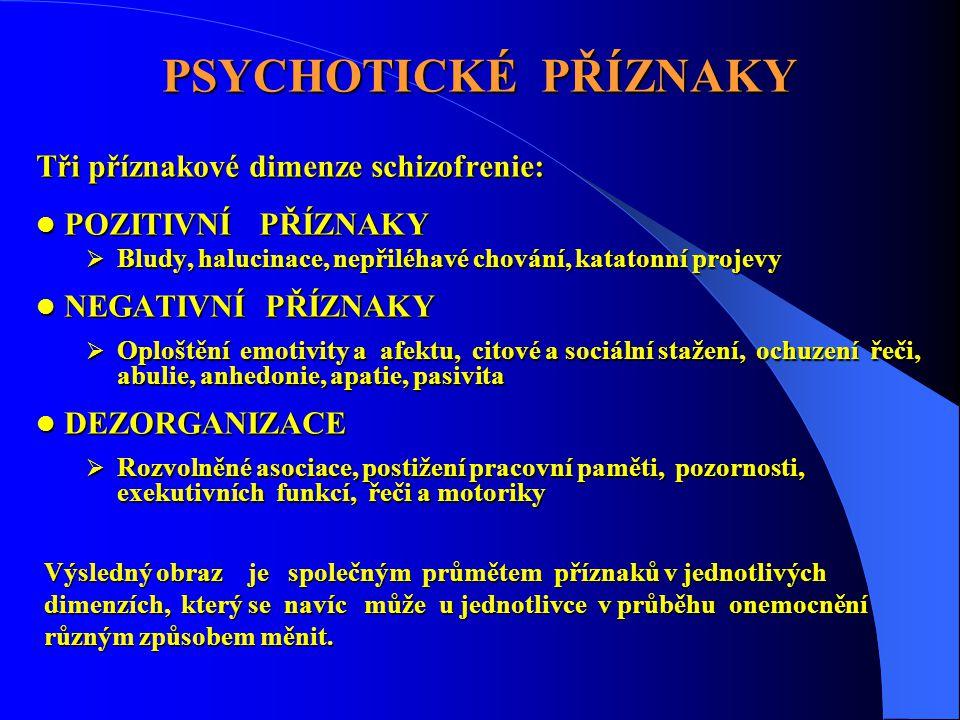 PSYCHOTICKÉ PŘÍZNAKY Tři příznakové dimenze schizofrenie: