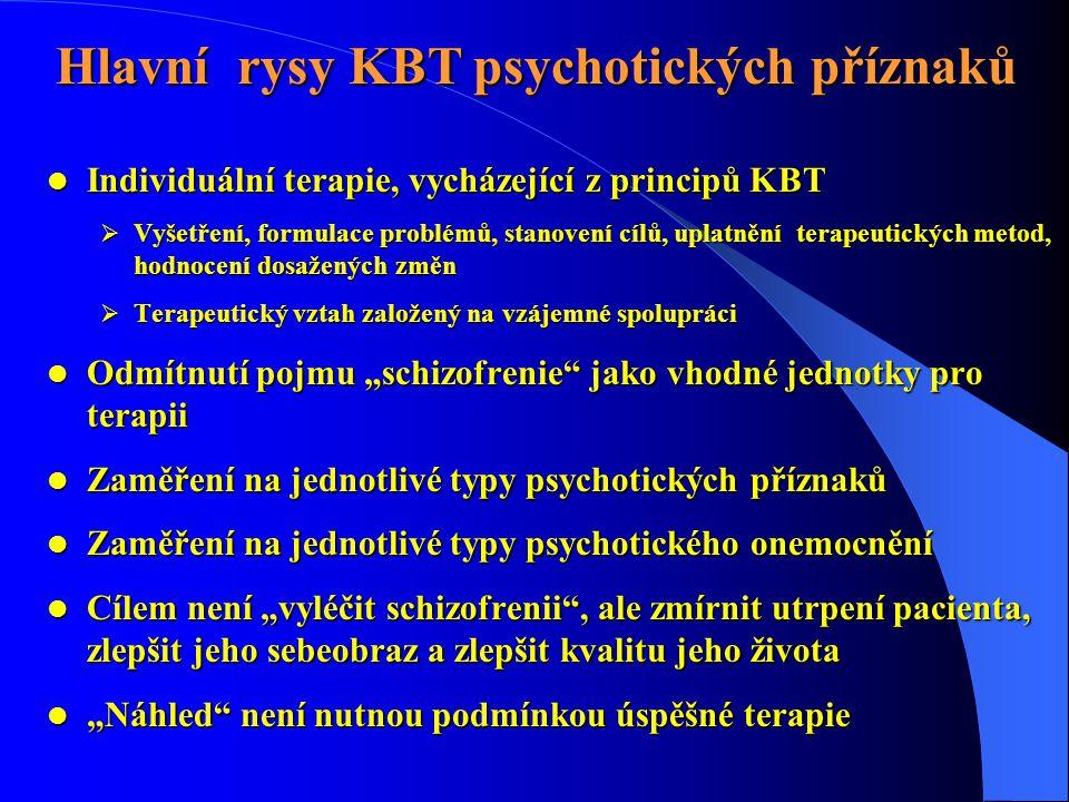 Hlavní rysy KBT psychotických příznaků