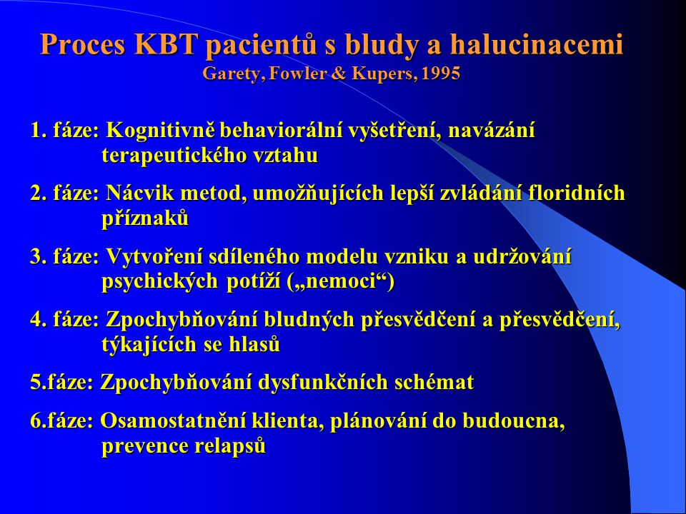 Proces KBT pacientů s bludy a halucinacemi Garety, Fowler & Kupers, 1995