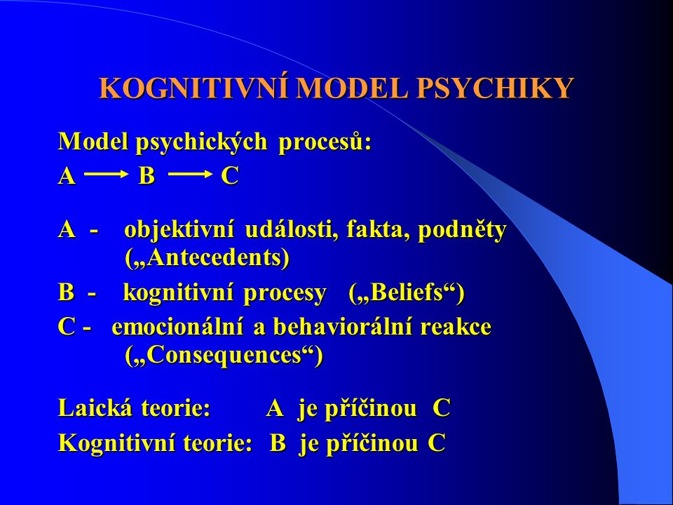 KOGNITIVNÍ MODEL PSYCHIKY