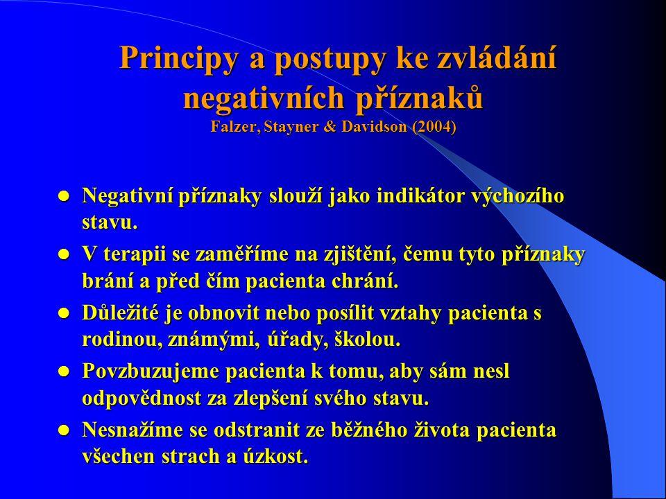 Principy a postupy ke zvládání negativních příznaků Falzer, Stayner & Davidson (2004)