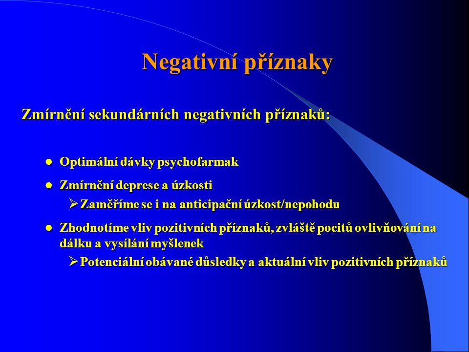 Negativní příznaky Zmírnění sekundárních negativních příznaků: