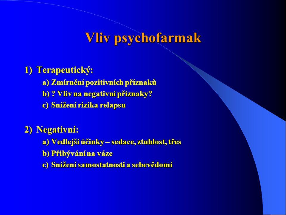 Vliv psychofarmak Terapeutický: Negativní: