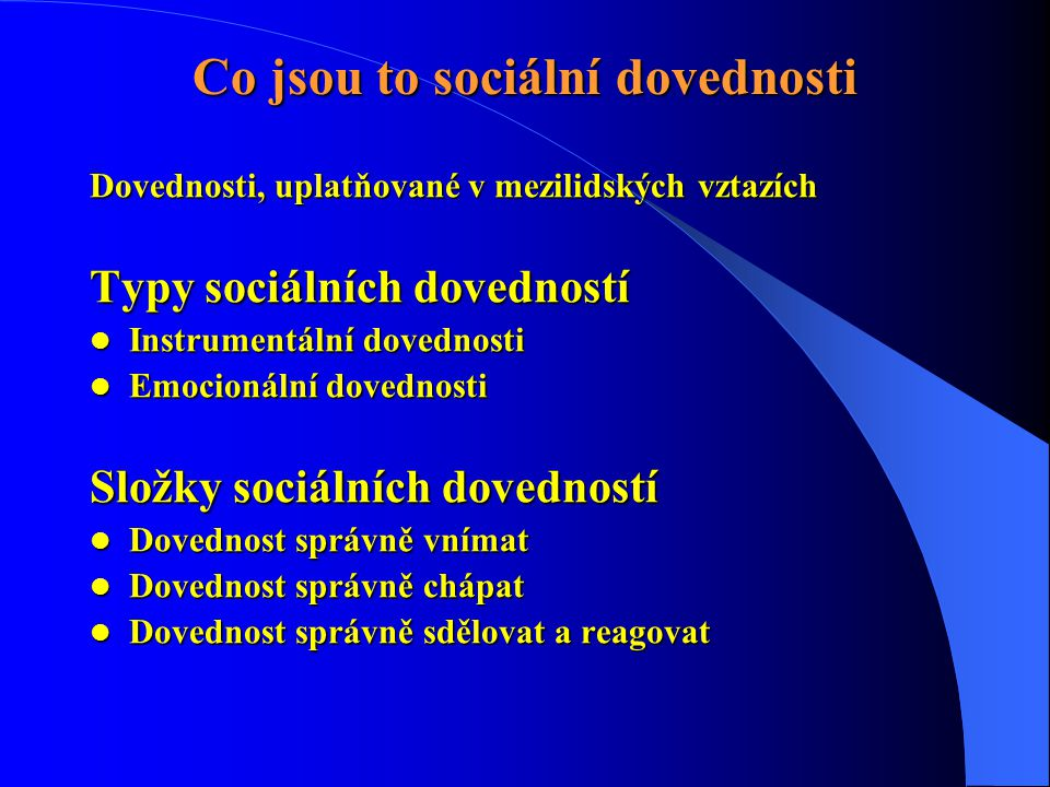Co jsou to sociální dovednosti