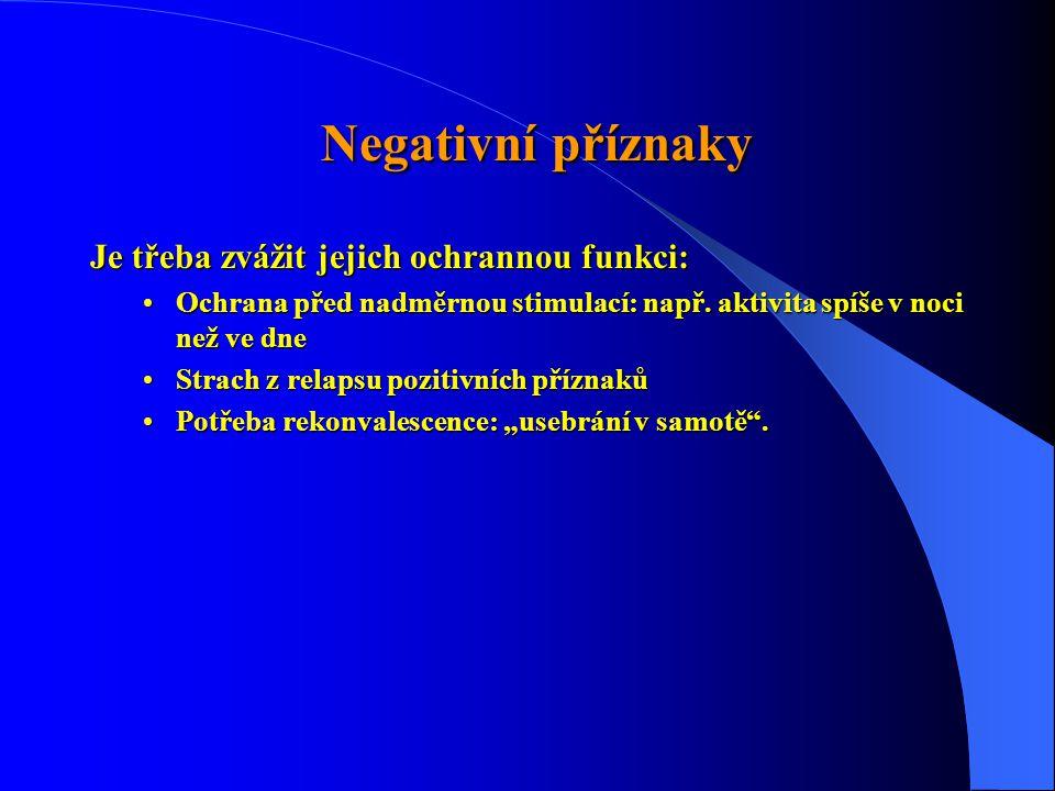 Negativní příznaky Je třeba zvážit jejich ochrannou funkci: