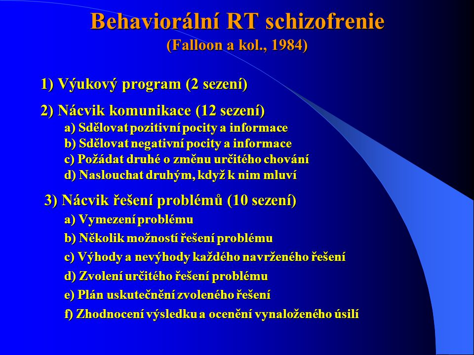 Behaviorální RT schizofrenie (Falloon a kol., 1984)
