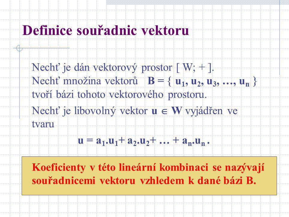 Definice souřadnic vektoru